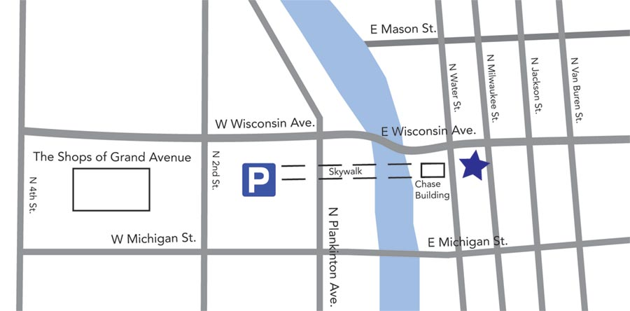 Map of free parking for Dental Associates downtown Milwaukee.